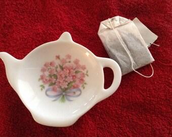 """Ceramic Teabag Holder Pink forget me knots 4.5"""""""