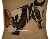 Polo Pony Horse Head Tapestry Cushion Cover Sham