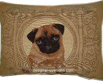 Medallion Pug Oblong Tapestry Cushion Pillow Cover
