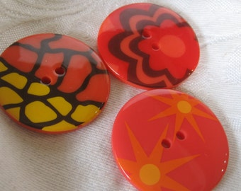 Lot of 3 Large Orange Print Plastic BUTTONS