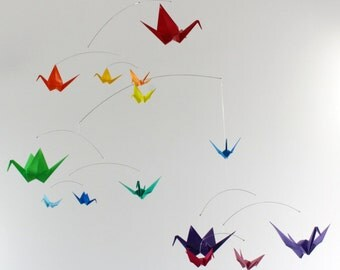 Rainbow Origami Paper Crane Mobile Paper Birds Modern Nursery Mobile Kinetic Art Colorful Mobile Zen Baby Girl Baby Boy Baby Shower Gift