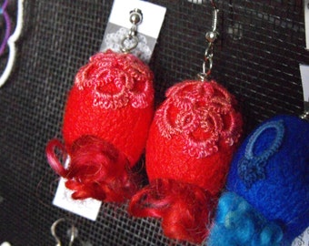 OOAK Red Silk Cocoon Earrings with Curly Locks and Silk Tatting / Fibre Art Earrings / Reiki Infused