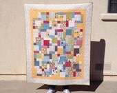 Make Life... Throw Lap Quilt - 52 x 65 - bright fabrics - inspirational quilt - modern quilt - graduation - college - teenager