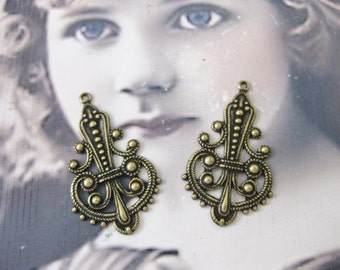 Brass Ox Plated Ornate Filigree earring Drops 487BOX x2