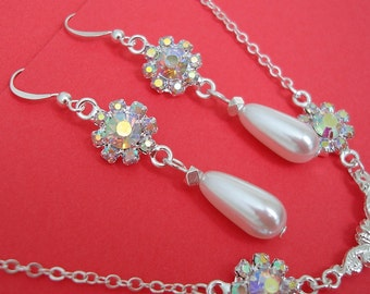 Bridal Jewelry Set Earrings NecklacePearl Crystal Sterling Silver Plated Btass.