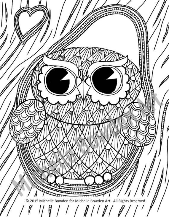 owl in a tree coloring page - coloring page printable owl tree zendoodle by
