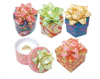 12 Pack of Paper Covered Multi Shape Bow Top Jewelry Hat Style Lidded Boxes