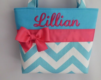 New ....Aqua CHEVRON Child Size  Bag.. .  GIRL  Purse ... Hot Pink ...  Monogrammed  FReE