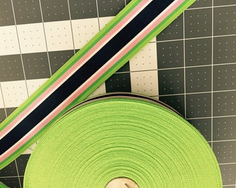 "Navy Limeade Stripe Ribbon 1.5""- Pick your length"