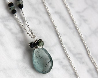 Moss Aquamarine Necklace with Spinel in Solid Sterling Silver