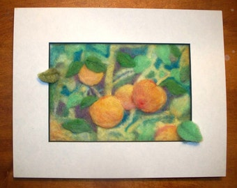 Needle Felted Peaches Painting