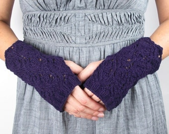 Purple Fingerless Gloves Lace Fingerless Gloves Cashmere Fingerless Gloves Silk Women
