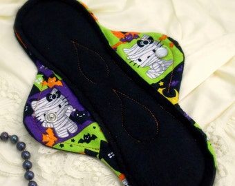 Long pad- Reusable Cloth Menstrual Pad/ Cloth Pad/ Reusable/ Leakproof- Hello Halloween