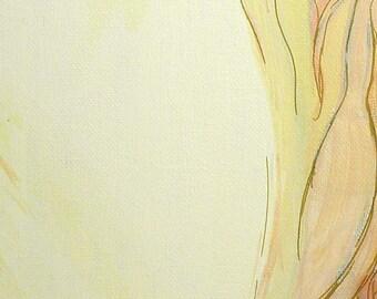 Original Acrylic Painting, Champagne, Nude Woman, Anatomical Vagina/Vulva Pendant mature
