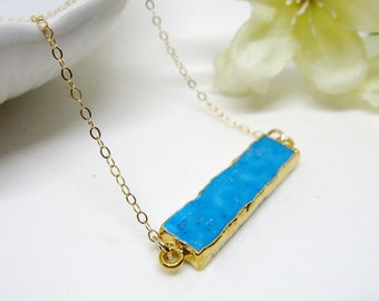 Turquoise Bar Necklace, Horizontal, Gold Long Layering Necklace, Gardendiva