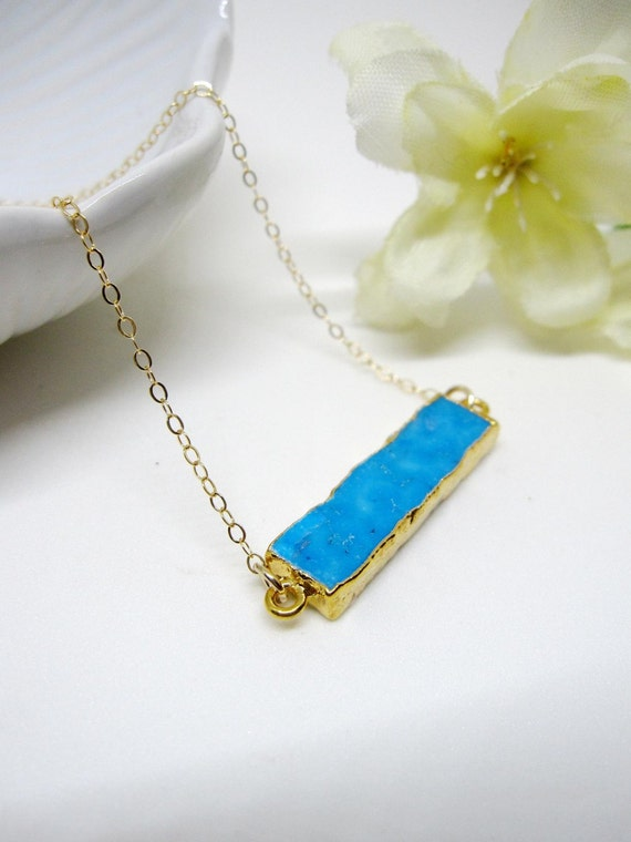 turquoise bar necklace horizontal gold long layering. Black Bedroom Furniture Sets. Home Design Ideas