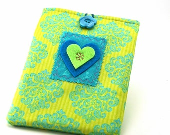 Heart Paperwhite Kindle  Padded Fabric Cover eReader Sleeve