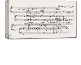Custom overlapping sheet music notes wall art,  old music sheet, digital notes, vintage wall sign 10x20