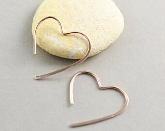 Rose Gold Heart Hoops, Medium Heart Earrings, Bridesmaid, Love