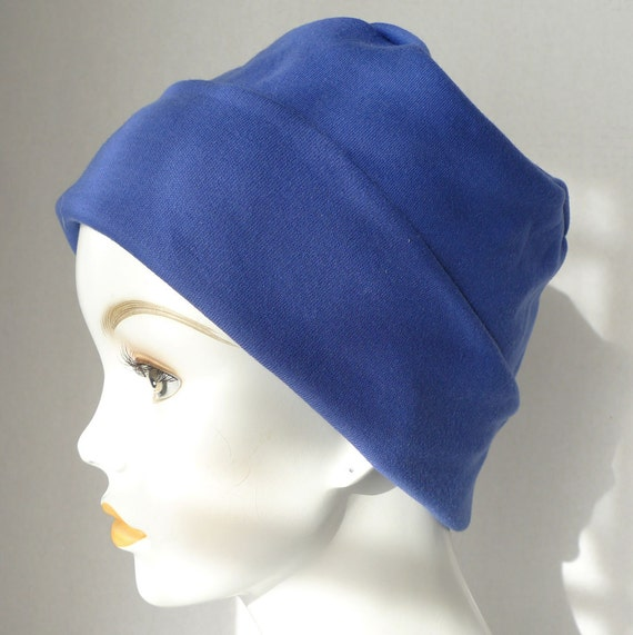cornflower blue rolled cuffed cool weather cancer chemo hat
