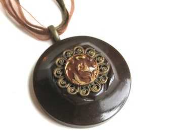 Vintage Button Necklace Brown Floral Flower with Filigree