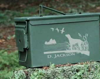 Personalized Engraved Custom Ammo Can~9 Different Designs~30 or 50 Cal, Father's Day Gift, Dad's Birthday, Retirement Gift, Hunters Ammo Box