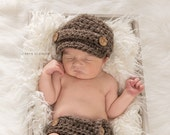 Crochet Baby Hat, Baby Hat and Diaper Cover Set, Baby Newsboy Hat, Baby Boy Hat, Newborn Boy Hat, Baby Diaper Cover, Baby Beanie, Brown
