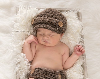 Baby Diaper Cover Set, Newborn Photo Shoot Set, Infant Boy Outfit, Baby Newsboy Hat Set, Newborn Beanie, Baby Boy Set, Brown