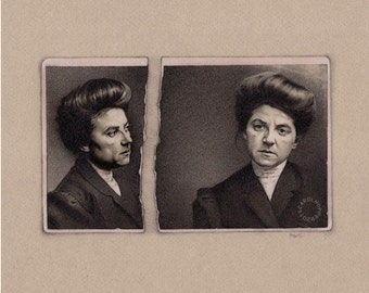 Sister Suffragette - Pencil Drawing - Just a Number Series