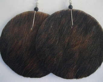 Hair on Leather Disk Earrings  - Dark Brown and Black with Black accents. Sterling Silver earwires