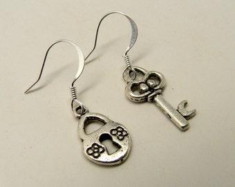 Steampunk earrings. Key and lock earrings.