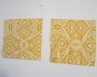 Pair Vera Neumann Placemats / Napkins Floral Abstract Motif Yellow & White Squares 1960's Vera Logo NEW Set Wall Hanging Table Decor Kitchen