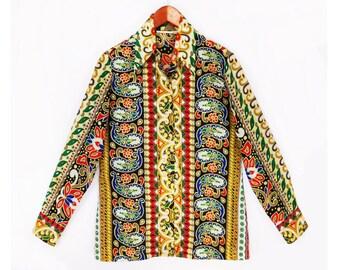 70's vintage crepe PAISLEY blouse // retro mod hippie blouse // women's M
