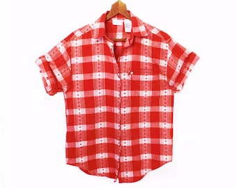 80's RED gingham checks shirt // red and white plaid // COTTON camp shirt // women's size S
