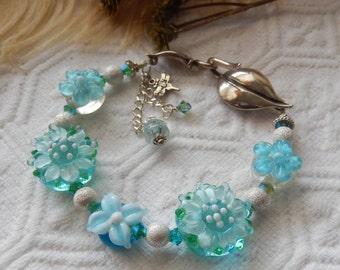 SALE.......One of a Kind Sterling Silver, Lampwork Glass and Swarovski Crystal Bracelet