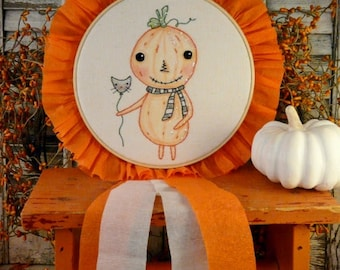 Halloween pumpkin man embroidery Pattern PDF - prim stitchery primitive hoop art badge