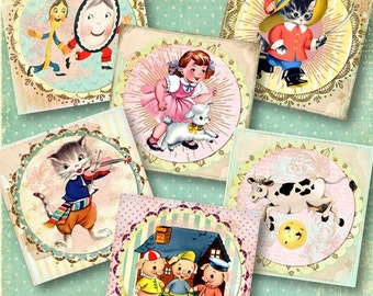 Set of 6 Nursery Rhyme Vintage Sticker Labels or Notes Shabby Squares, Digital Collage Sheet for Journaling, Crafts of Scrapbooking