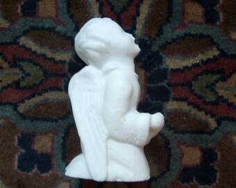 Vintage White Stone Carved Angel Cherub