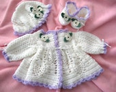 Crochet Pattern for Baby.......Ashleigh Sweater Set with long or short sleeves.  Original Designed Crochet Pattern by Rebecca Leigh