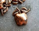 Apple Cabochon-Vintage Copper Metalized Lucite Apple Cabochons-10 Cabochons