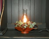 Metal Rustic Star Base Lantern with Silicone Bulb and Glass Chimney Rustic Burgundy Pip Berries in a Ivy Wreath