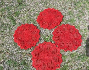 4 Vintage Lace Doilies Red Lace Doily Wedding Decor Table Settings French Country Farmhouse Christmas Red Lace Christmas Decor Set of 4