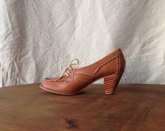 Vintage Stitched Cognac Heels, 8.