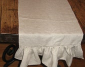 READY To Ship SALE - Linen Table Runner with Ruffle Egde - Free Shipping