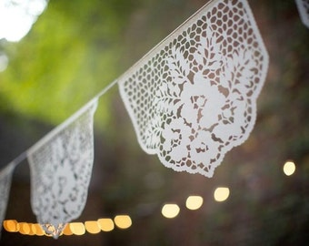 Papel Picado Banners - LAS FLORES - custom color wedding garlands