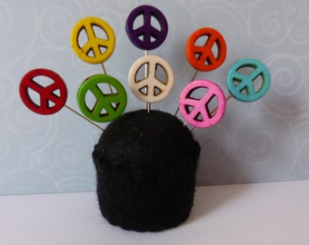 Colorful Peace Sign Straight Pins - Set of 8
