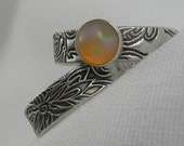 Orange Chocolate Opal Sterling Stacking Ring Size 7.5 PMC Artisan Jewelry October Birthstone