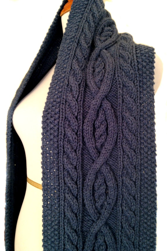 PDF Knitting Pattern. Cable Knit Scarf. Traditional Irish.