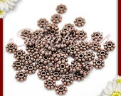 100 Antiqued Copper Daisy Spacers 6mm DS12