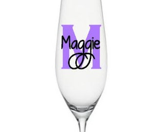 SINGLE DIY Personalized Champagne Flute Decals, Custom Wedding Champagne Flute Decals, Bridal Party Decals with Monogram/Glass NOT Included
